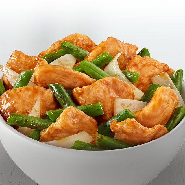 Chicken breast, string beans and onions wok-tossed in a mild ginger soy sauce.