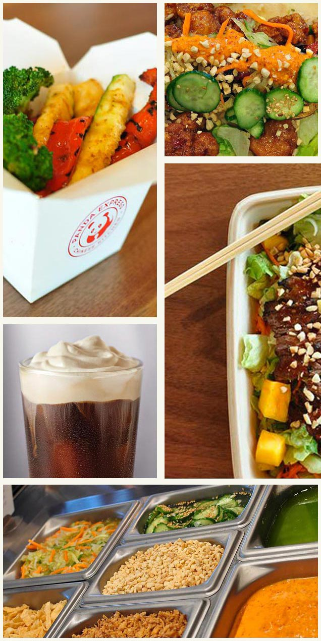 Innovation Kitchen cuisine from Panda Expressn including grilled veggies, and Tea Bar items.