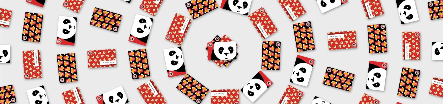 Panda Express gift cards in circular pattern
