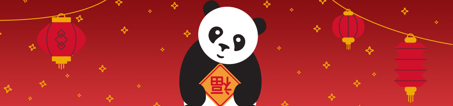 Panda holding Chinese welcome symbol