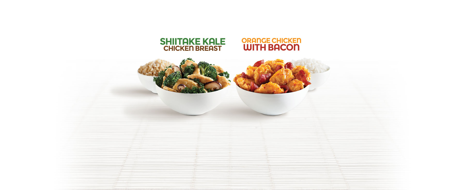 Shiitake Kale Chicken Breast and Orange Chicken with Bacon