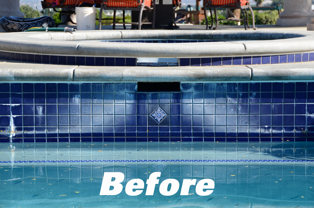 Before Tile Repair by Pool-Doctors Pool Cleaning in Orange County, Ca
