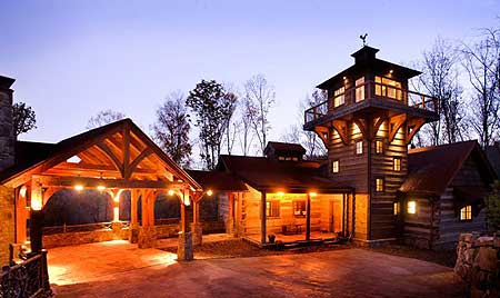 Large log home with tower