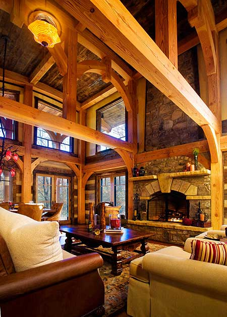 living room of log home