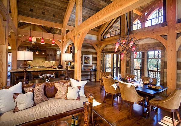 Open concept living room of log home