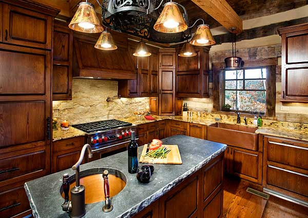 Wood kitchen of log home