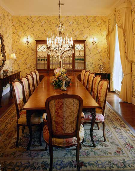 View of the formal dining room from head of the table