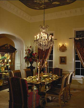 Formal dining room with seating for six to eight people