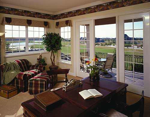 Home study with wrap-around windows