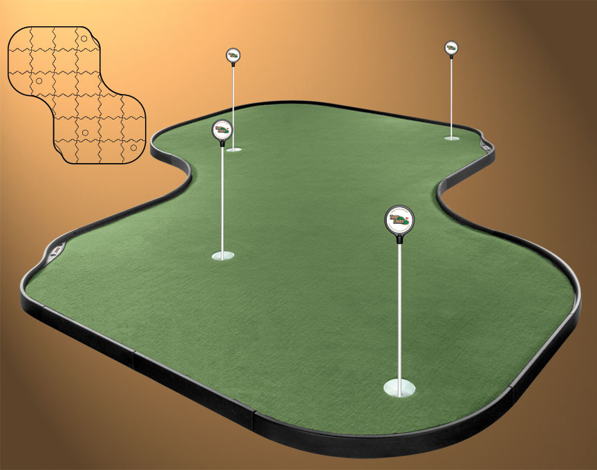Indoor golf putting green for man cave