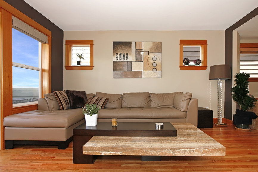 contemporary living room with wall art