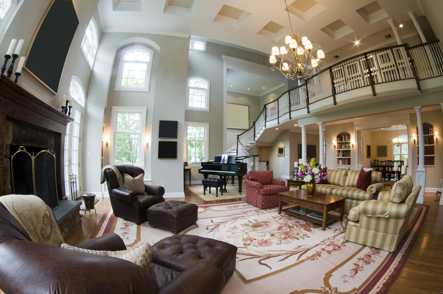 Huge Living Room With Grand Piano Large Rug Huge Fireplace And Separate Sitting Area