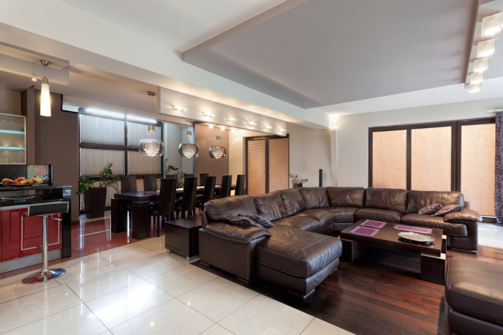 Lovely Large Living Room With Over Sized Sectional Sofa And Bar