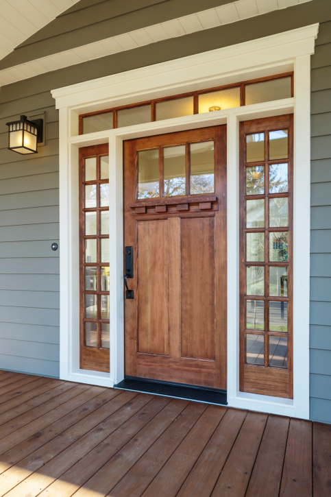 Contemporary Wood Door With Window And White Frame