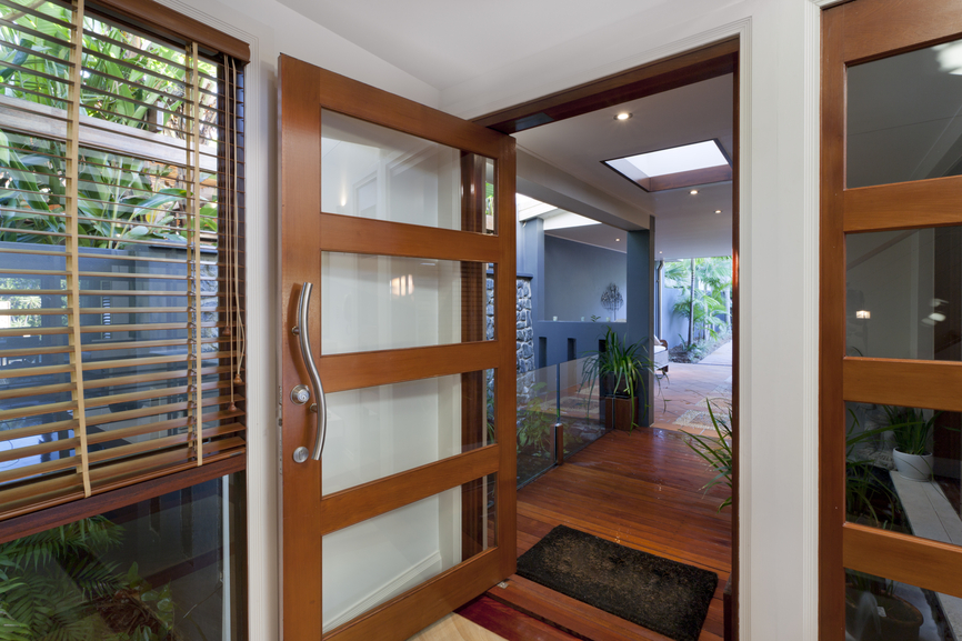 Stylish Wood And Glass Door With Contemporary Door Handle