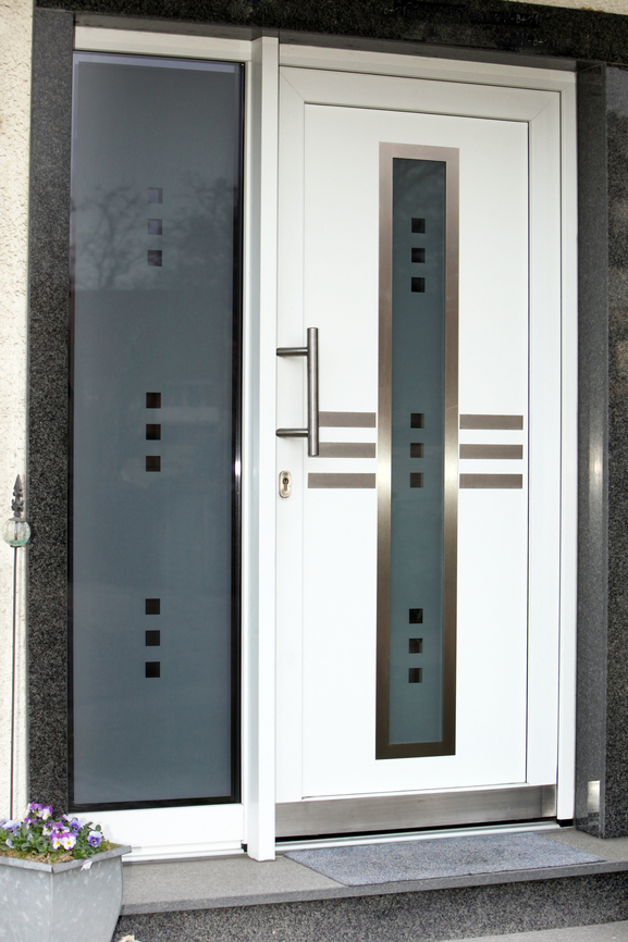 Great Modern Front Door With Silver Ornamentation And Glass Window