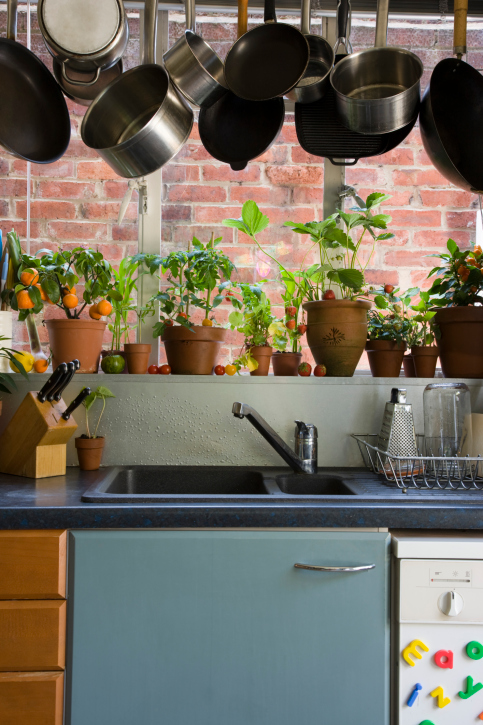 Large pot rack with many hanging pots over the kitchen sink
