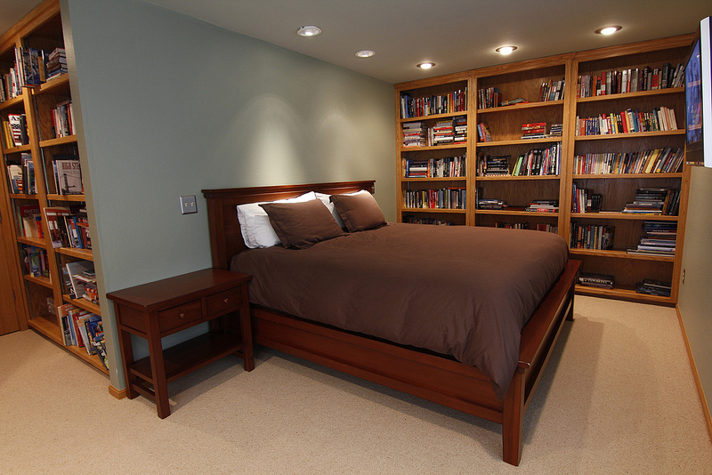 Bookshelves make the room