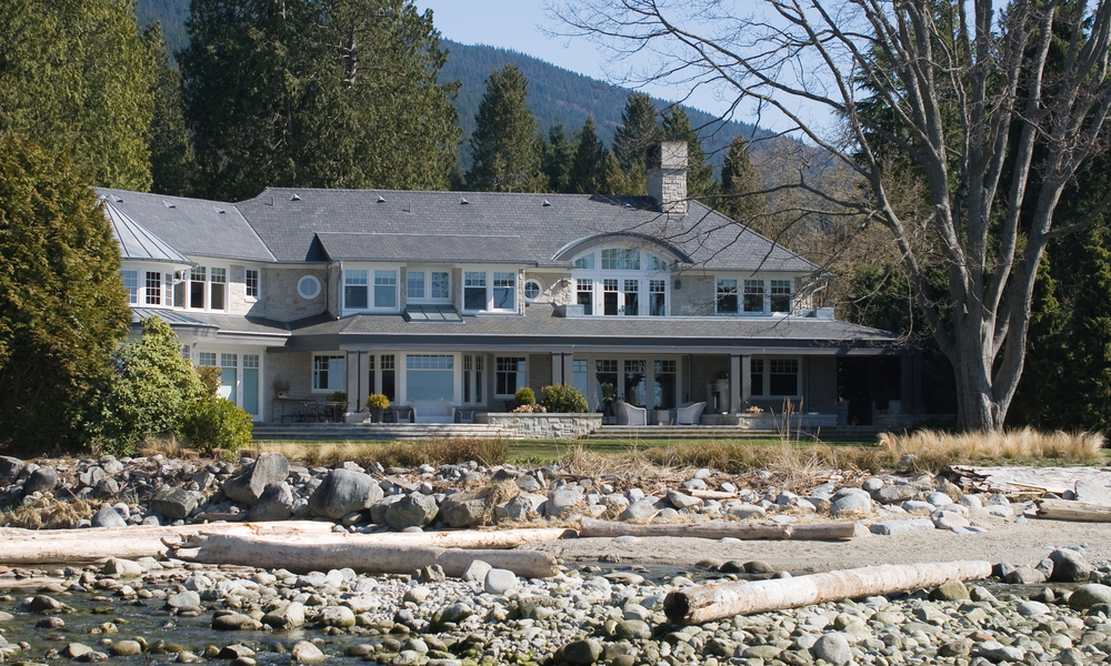 Vancouver beach mansion on rocky beach