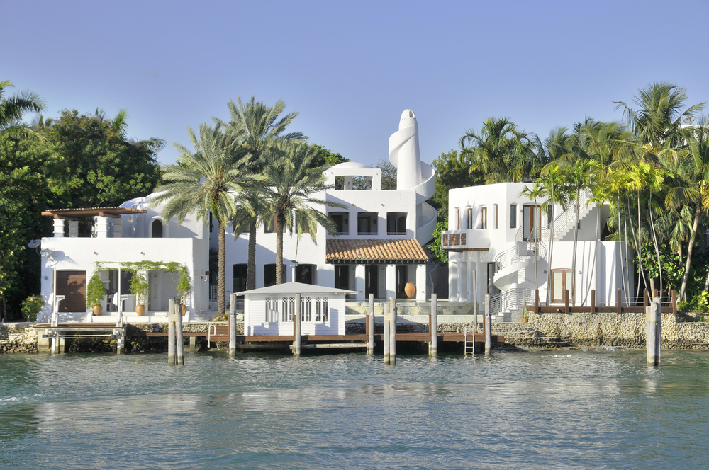 White beach mansion on Star Island, Florida
