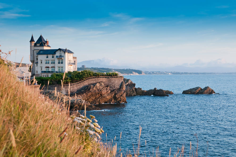 French chateau on the beach in Biarritz