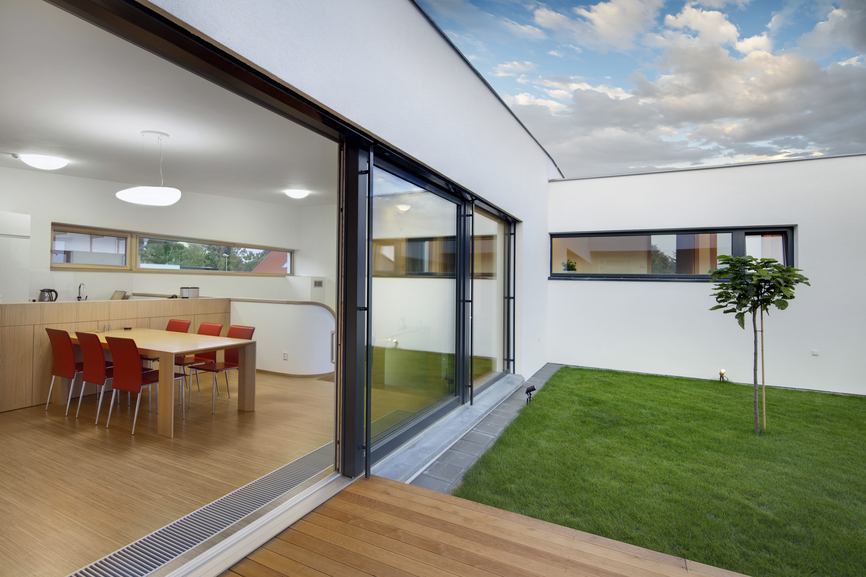 Simple but stylish dining room view from courtyard