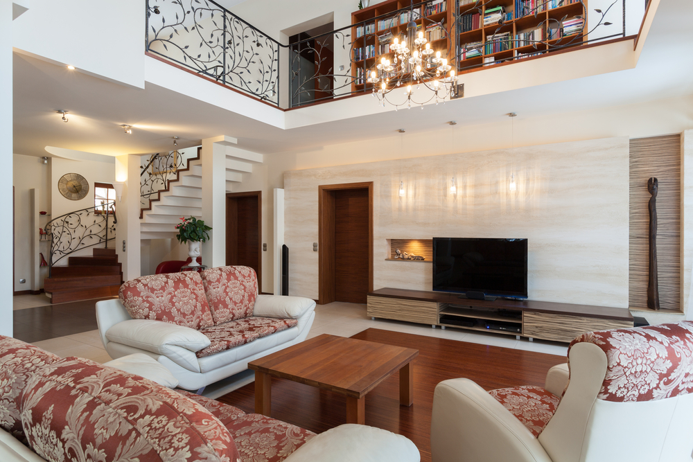 Family room in the center of a home with upper level landing