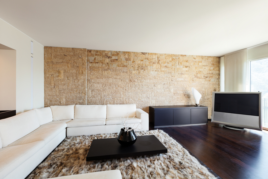 Covering a brick fireplace - Minimalist Family Room Design With White Ceiling White Large L Shaped