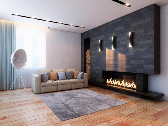 Mid-century modern fireplace with dark surround.