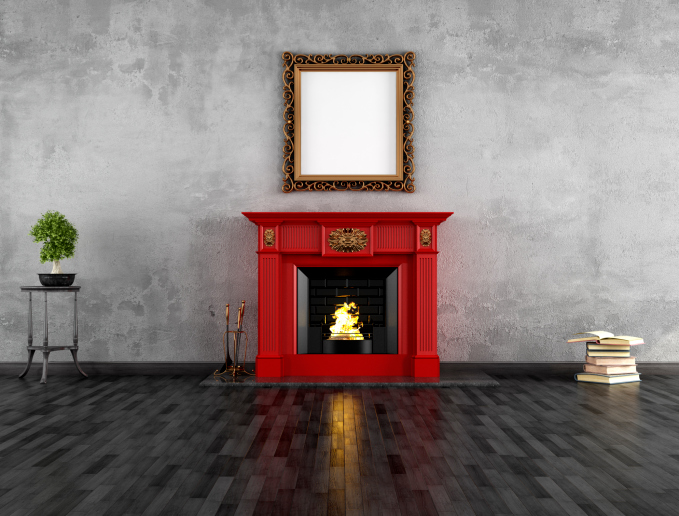 Red wooden fireplace surround
