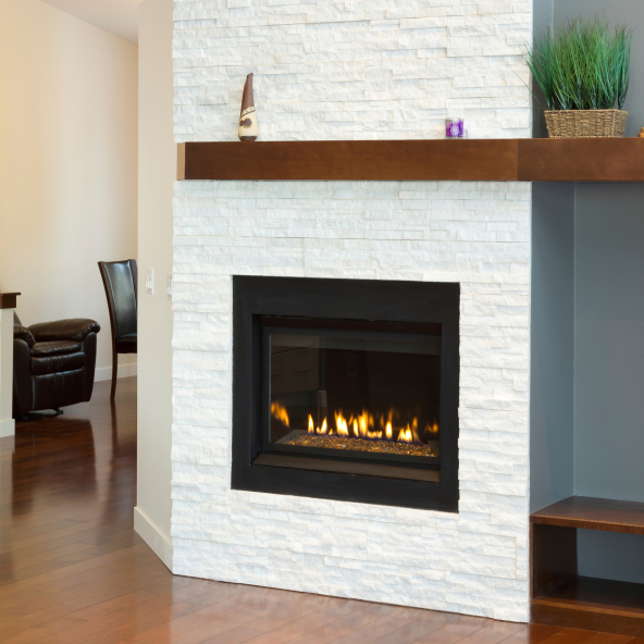 White fireplace in a modern setting
