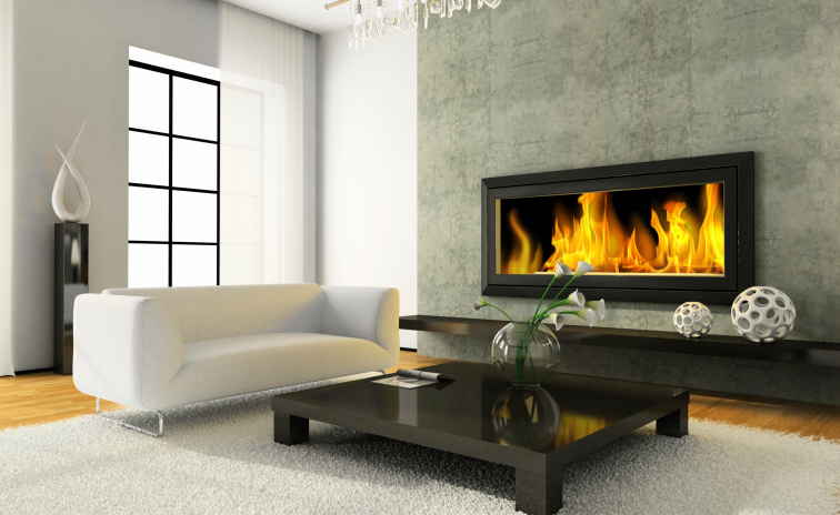 Modern fireplace against a gray concrete wall