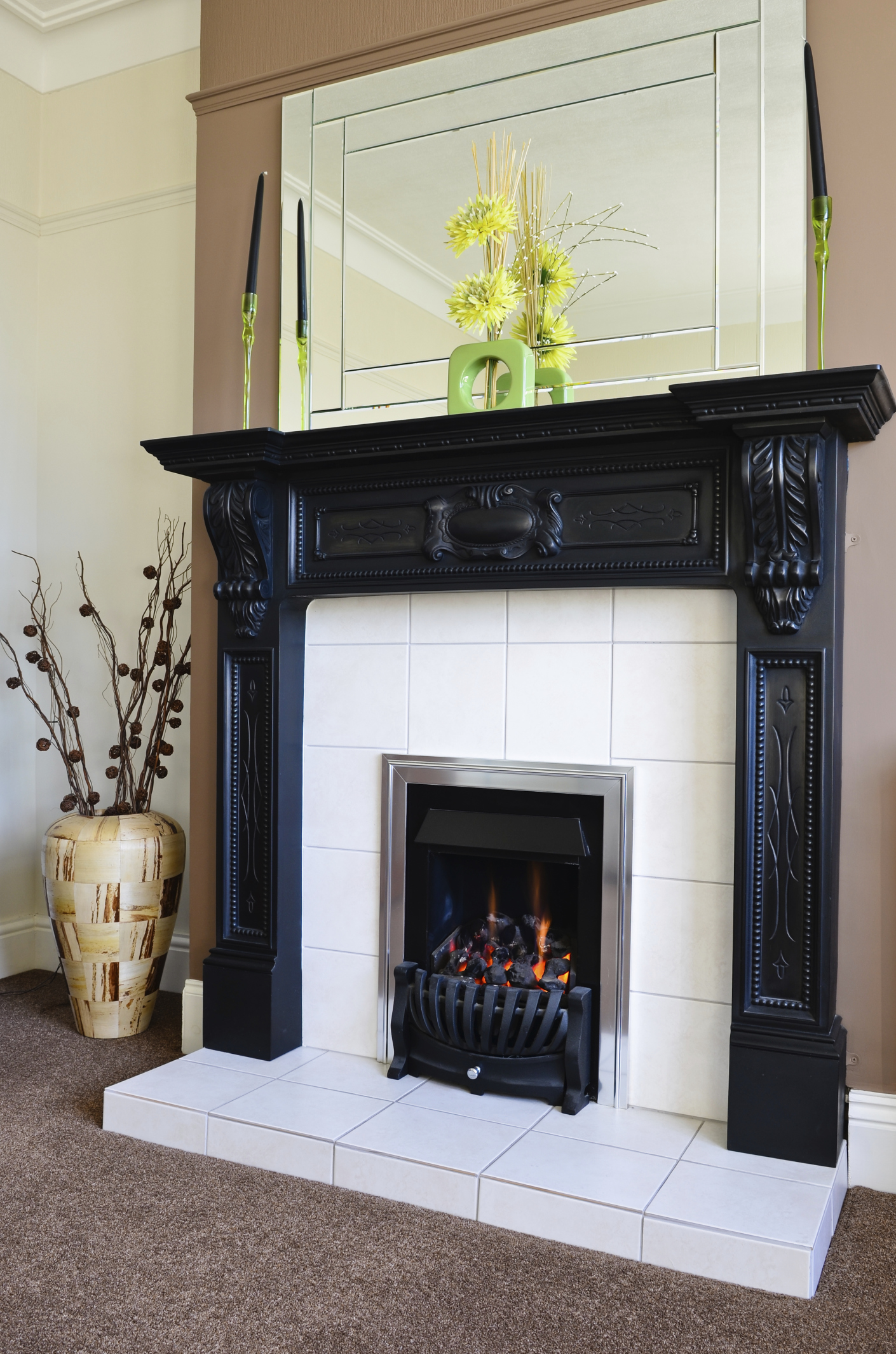 dramatic black and white fireplace - Black Fireplace Mantels