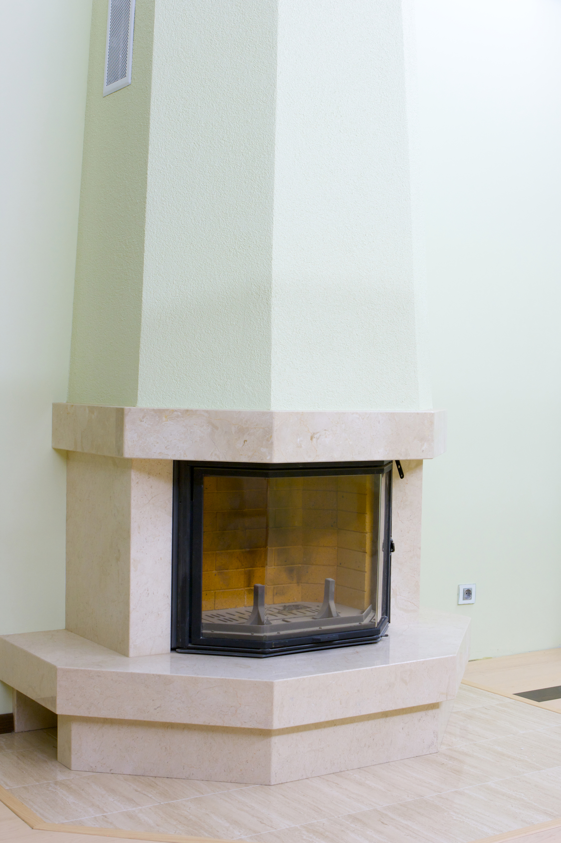 White angular fireplace