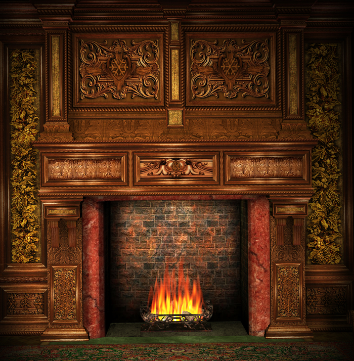 Antique looking carved wood fireplace
