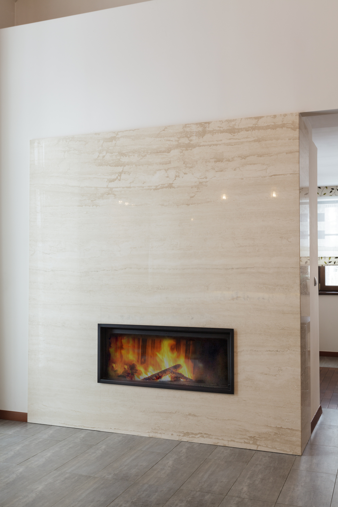 Marble Wall Fireplace