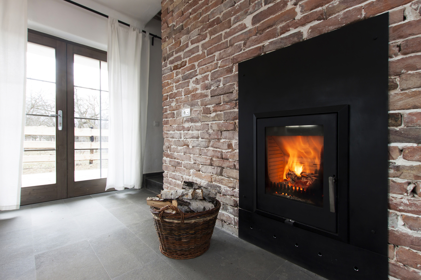 Modern brick wall fireplace