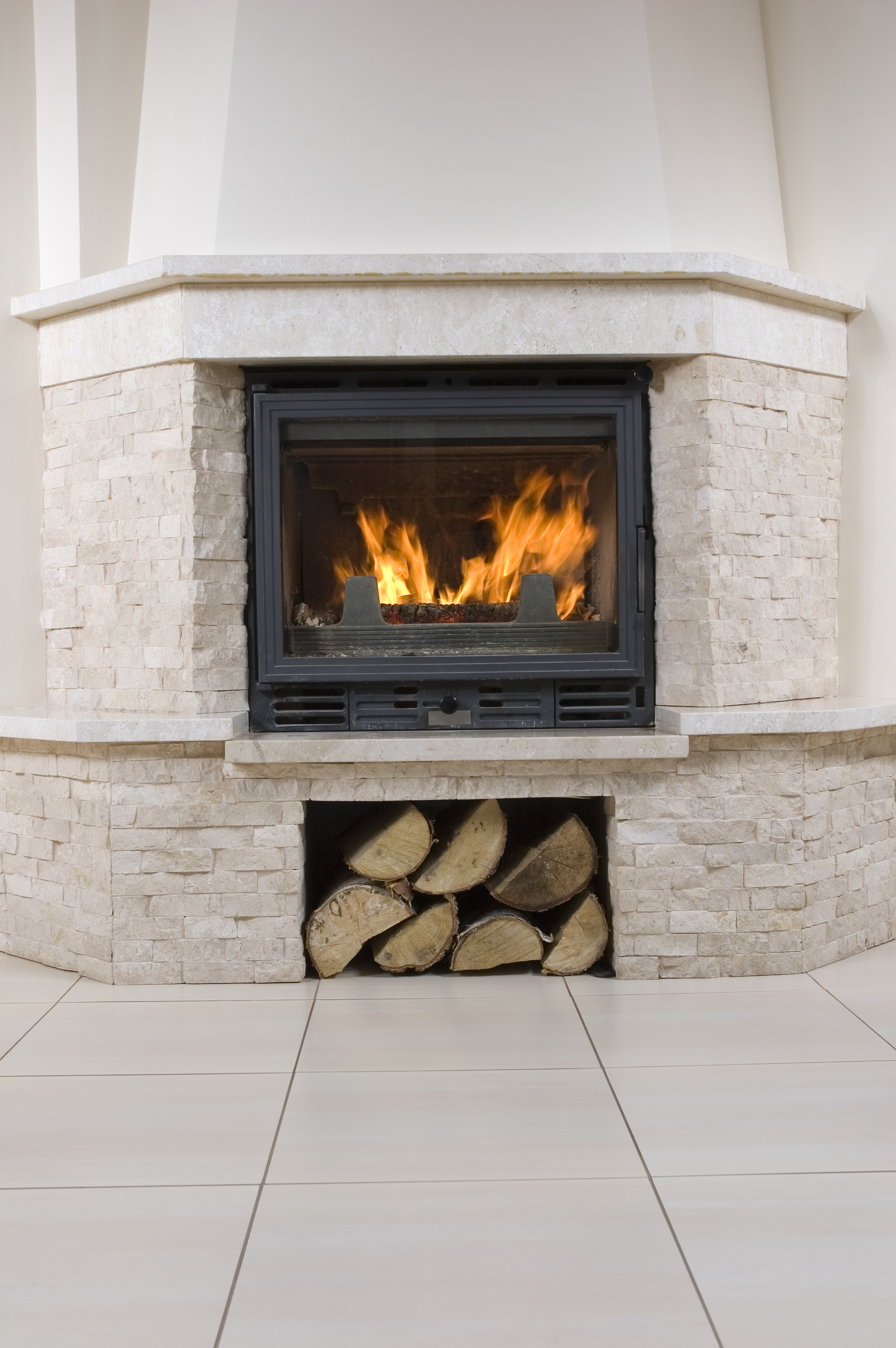White stone fireplace