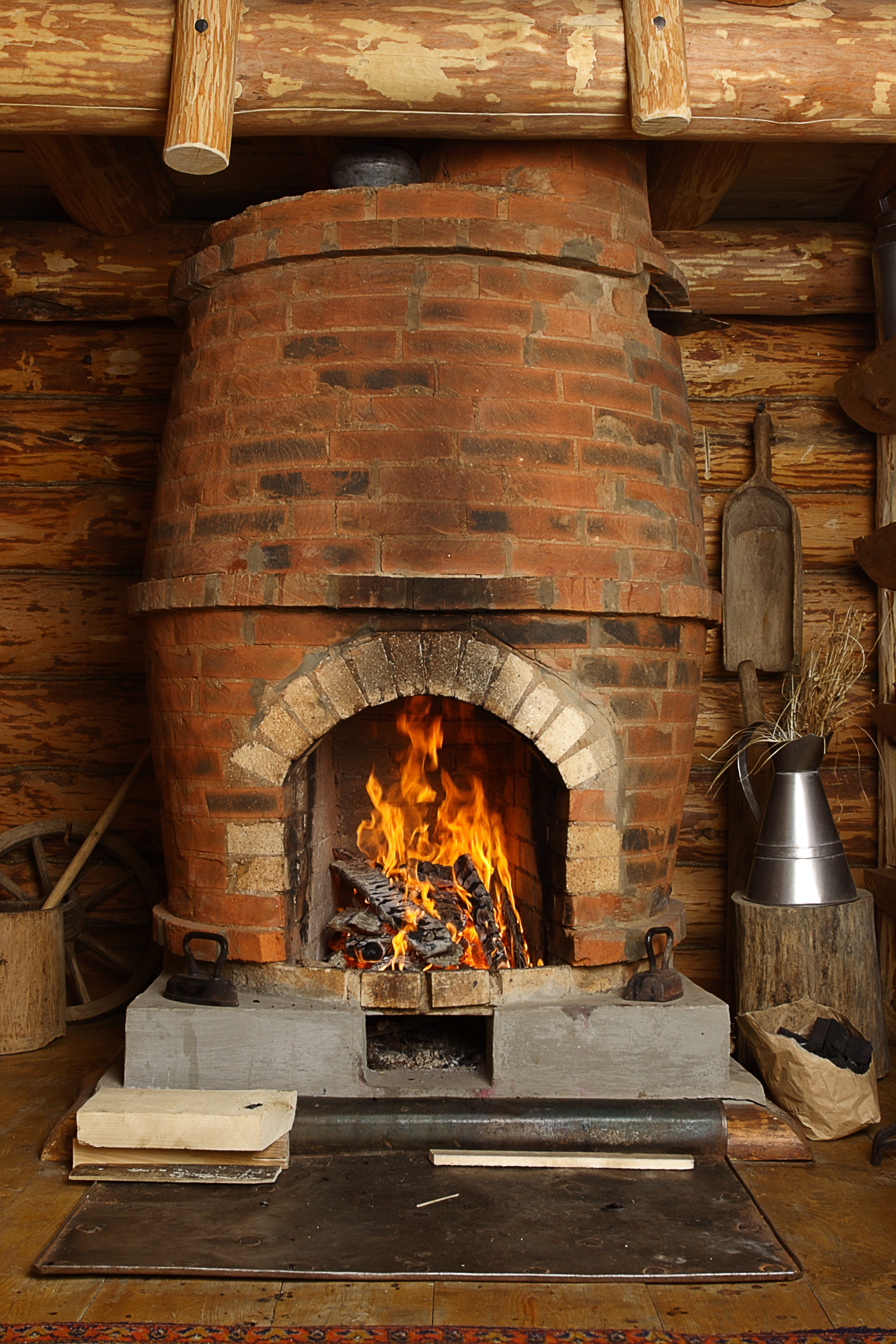 Traditional barrel-shaped fireplace