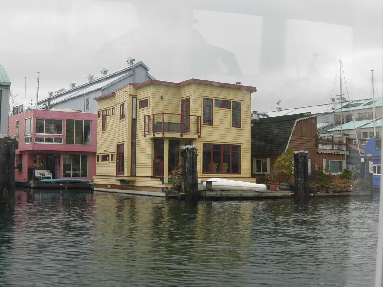 Floating homes next to Granville Island in False Creek, Vancouver, British Columbia
