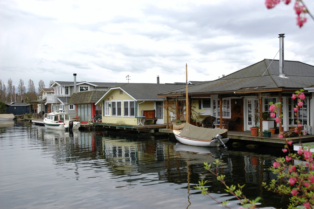 Floating homes in Portage Bay, Seattle, WA