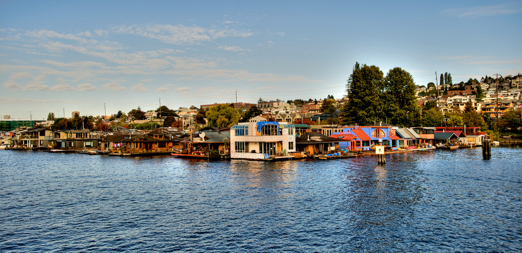 Floating home neighborhood in Lake Washington, WA