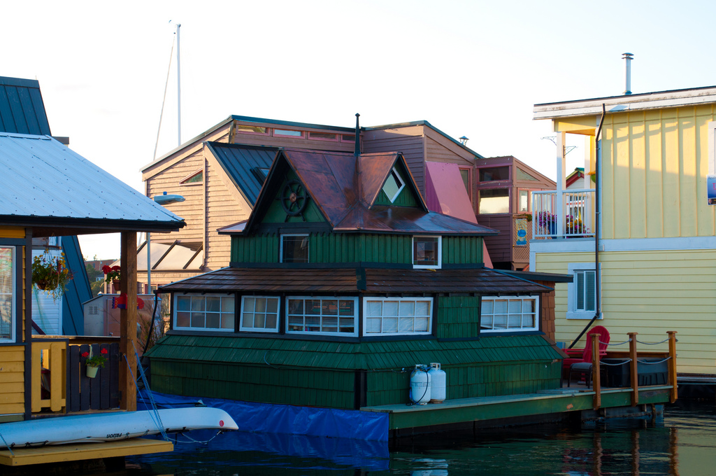 Eclectic green floating home in Victoria, BC