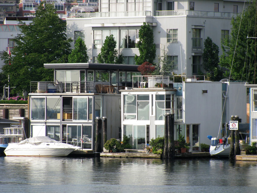 Luxury floating homes in False Creek in Vancouver, B.C.