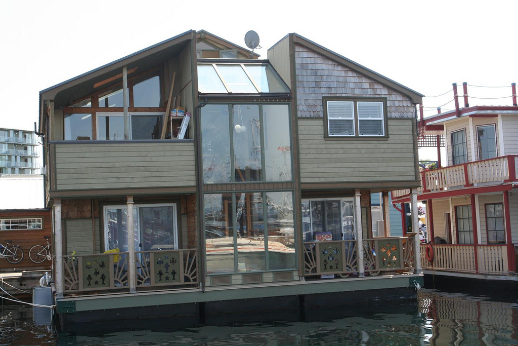 2-story house boat with multiple decks in Victoria, B.C.