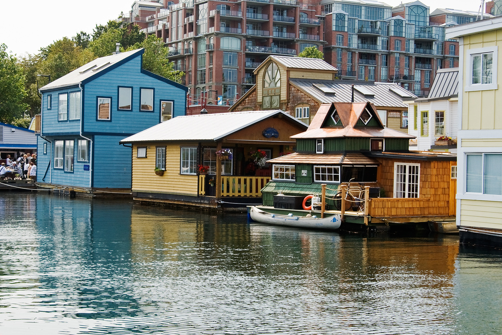 Floating house neighborhood in Victoria, BC