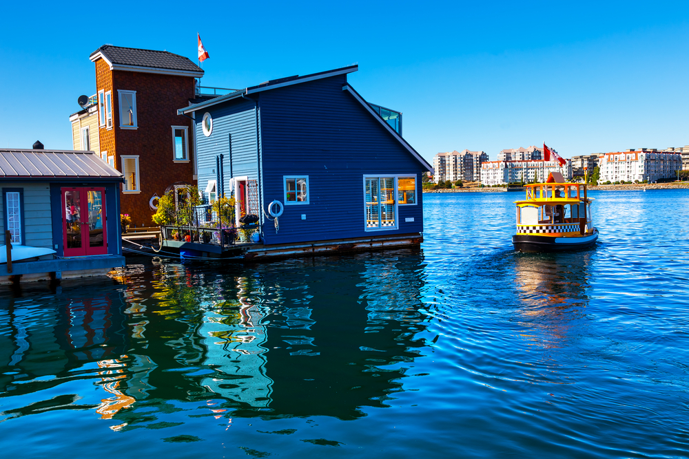 Floating houses at the edge of a floating home community in the Inner Harbor, Victoria, B.C.
