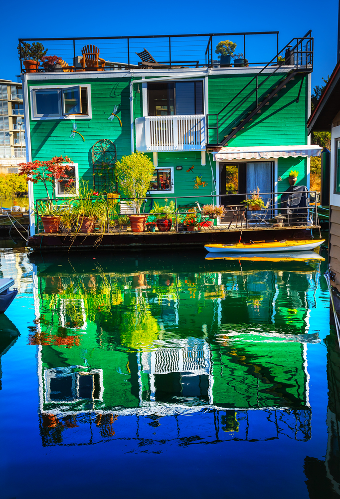 2 story green floating house at Fisherman's Wharf in Victoria, BC