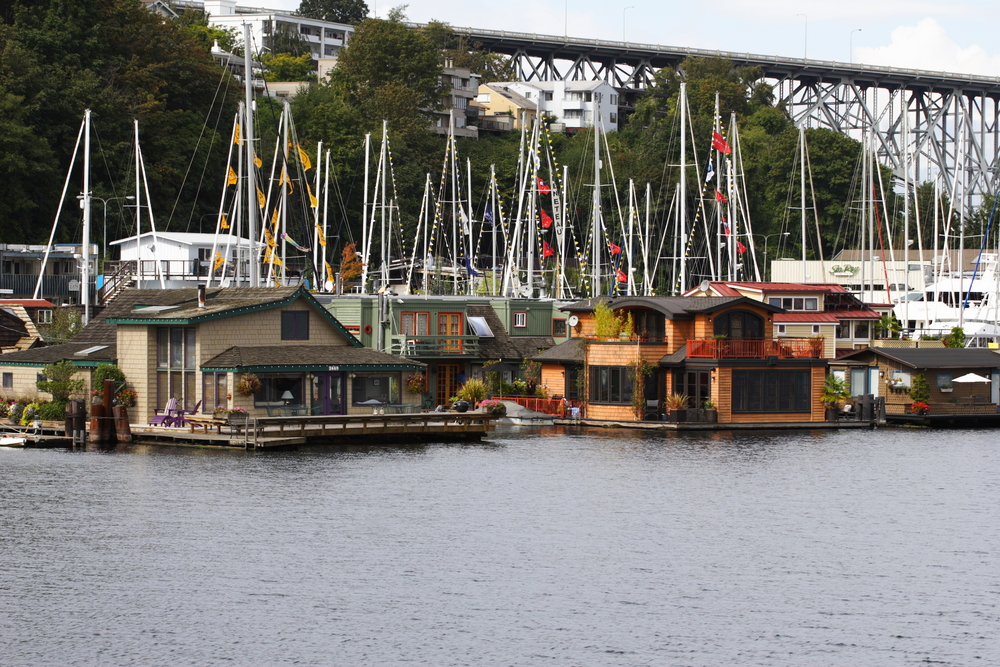 Floating homes in Seattle, Washington. The Home on the left was in the movie Sleepless in Seattle