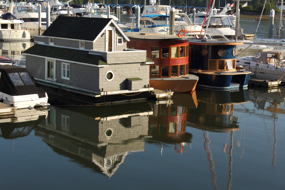 Floating home in Coal Harbor, downtown Vancouver, British Columbia
